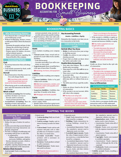 QuickStudy | Bookkeeping: Accounting for Small Business Laminated Reference Guide