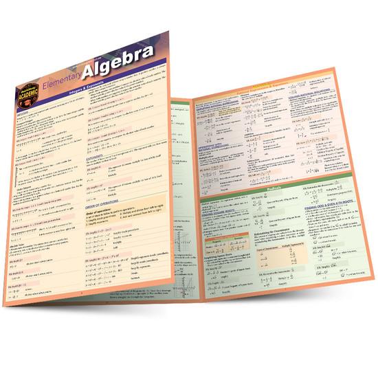 Quick Study QuickStudy Elementary Algebra Laminated Study Guide BarCharts Publishing Mathematic Reference Main Image