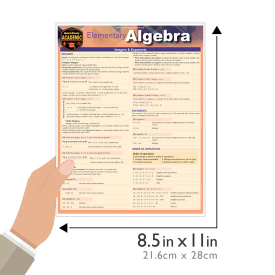 Quick Study QuickStudy Elementary Algebra Laminated Study Guide BarCharts Publishing Mathematic Reference Guide Size
