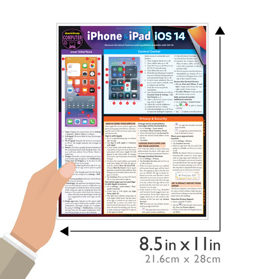 Quick Study QuickStudy iPhone & iPad iOS 14 Laminated Reference Guide BarCharts Publishing Mobile Operating System Reference Guide Size