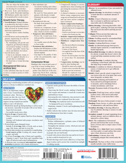 Quick Study QuickStudy Wound Care Laminated Study Guide BarCharts Publishing Medical Reference Back Image