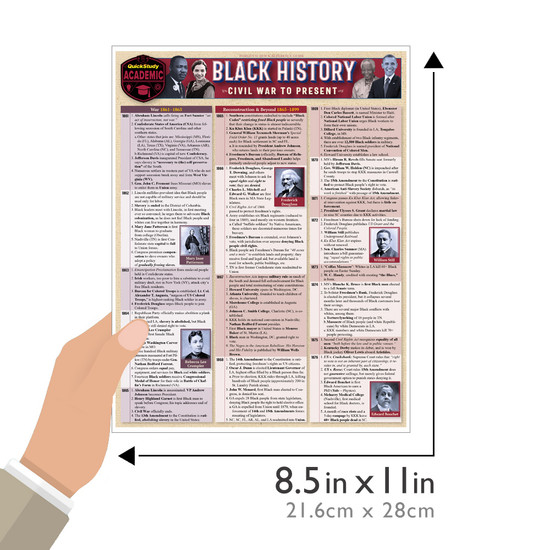 QuickStudy Black History: Civil War To Present Laminated Study Guide Size