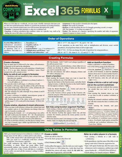 QuickStudy   Excel 365: Formulas Laminated Reference Guide