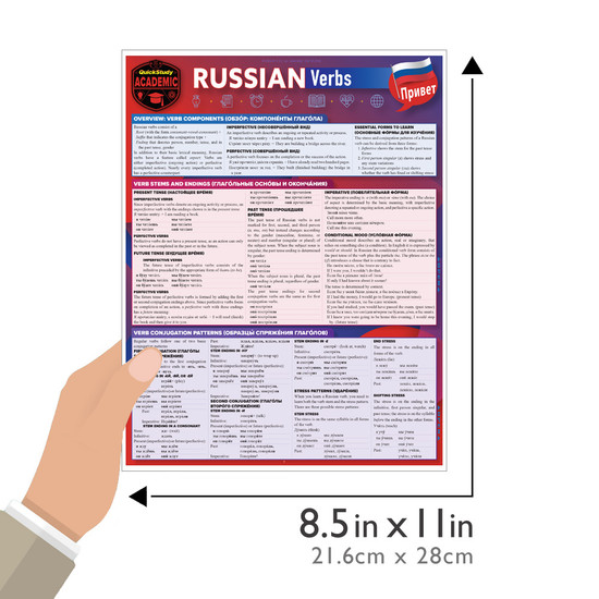 Quick Study QuickStudy Russian Verbs Laminated Study Guide BarCharts Publishing Foreign Language Reference Guide Size