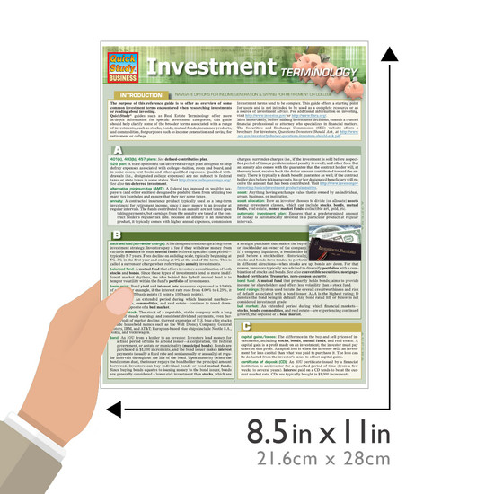 Quick Study QuickStudy Investment Terminology Laminated Study Guide BarCharts Publishing Reference Guide Size