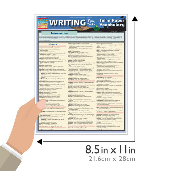 Quick Study QuickStudy Writing Tips & Tricks: Term Paper Vocabulary Laminated Study Guide BarCharts Publishing Language Arts Academic Reference Guide Size