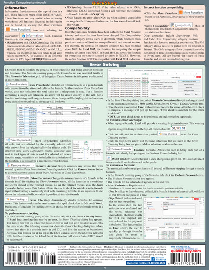 QuickStudy Quick Study Excel Formulas Laminated Reference Guide BarCharts Publishing Computer Guide Back Image