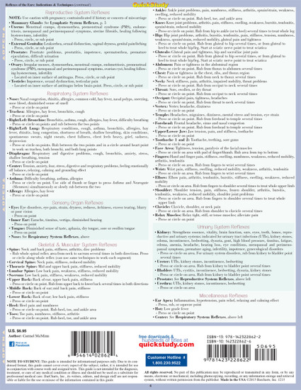 Quick Study QuickStudy Reflexology: Point Functions & Technique Laminated Study Guide BarCharts Publishing Medical Reference Guide Back Image