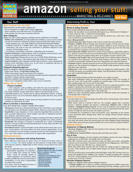 Quick Study QuickStudy Amazon: Selling Your Stuff - Marketing & Relevancy Laminated Reference Guide BarCharts Publishing Business & Entrepreneurship Reference Cover Image