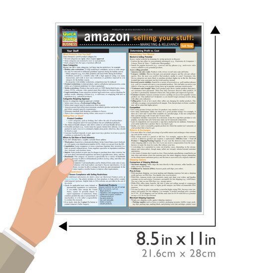 Quick Study QuickStudy Amazon: Selling Your Stuff - Marketing & Relevancy Laminated Reference Guide BarCharts Publishing Business & Entrepreneurship Reference Guide Size
