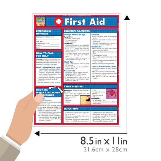 Quick Study QuickStudy First Aid Laminated Study Guide BarCharts Publishing First Aid Reference Size