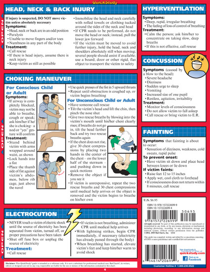Quick Study QuickStudy First Aid Laminated Study Guide BarCharts Publishing First Aid Reference Back Page Image