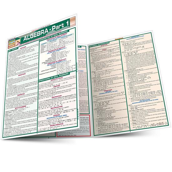 Quick Study QuickStudy Algebraic Part 1 Laminated Study Guide BarCharts Publishing Algebra Pt1 Guide Main Image