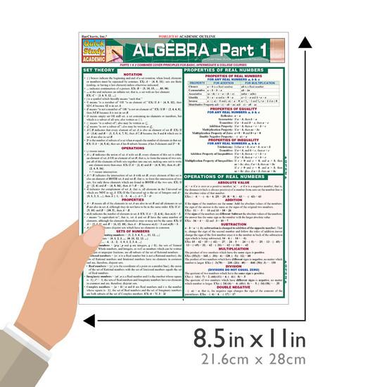 Quick Study QuickStudy Algebraic Part 1 Laminated Study Guide BarCharts Publishing Algebra Pt1 Guide Size