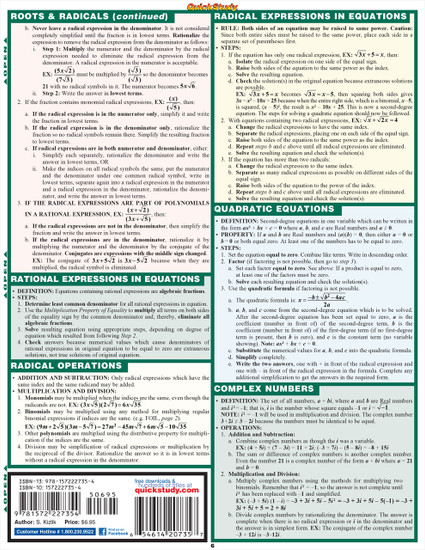 Quick Study QuickStudy Algebraic Part 1 Laminated Study Guide BarCharts Publishing Algebra Pt1 Guide Back Page Image