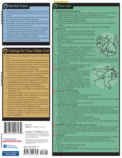 Quick Study QuickStudy Cat Care Laminated Reference Guide BarCharts Publishing Pet Care & Health Reference Back Image