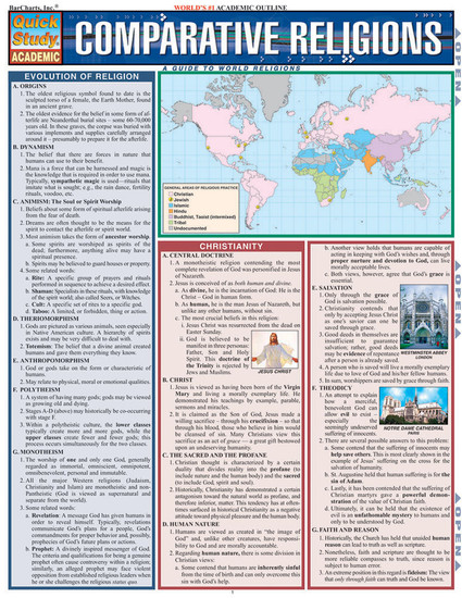Quick Study QuickStudy Comparative Religions Laminated Study Guide BarCharts Publishing Faith-Based Reference Cover Image