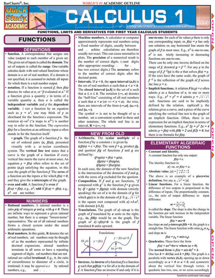 QuickStudy | Calculus 1 Laminated Study Guide
