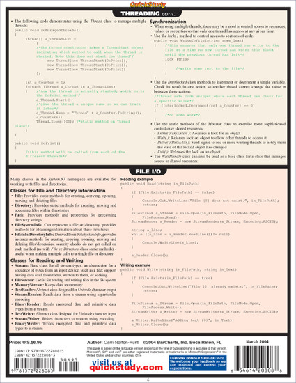 Quick Study QuickStudy C#.Net Laminated Study Guide BarCharts Publishing Computer Programming Guide Back Image
