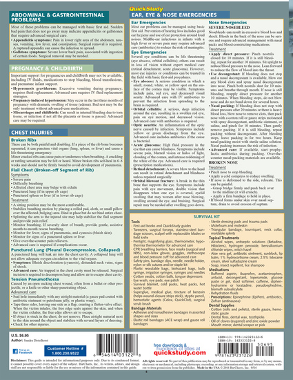 Quick Study QuickStudy First Aid Advanced: Survival & Disasters Laminated Reference Guide BarCharts Publishing Health & Public Safety Reference Back Image