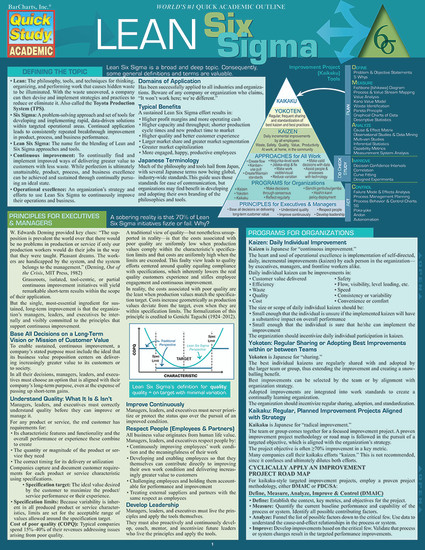 QuickStudy | Lean Six Sigma Laminated Reference Guide