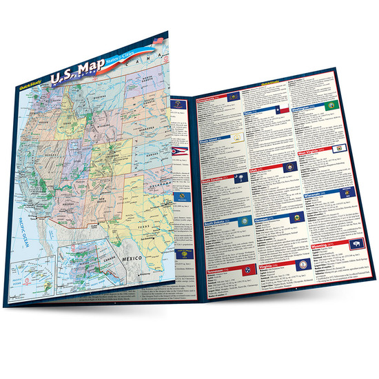 QuickStudy | U.S. Map: States & Cities Laminated Reference Guide