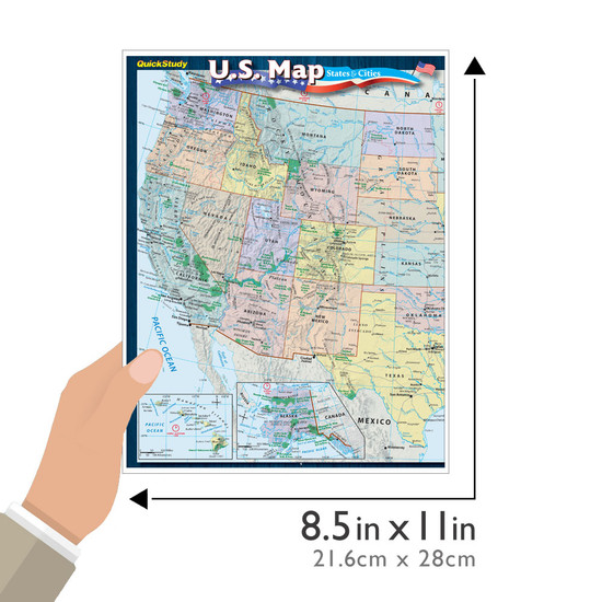 Quick Study QuickStudy U.S. Map: States & Cities Laminated Reference Guide BarCharts Publishing Education Outline Guide Size