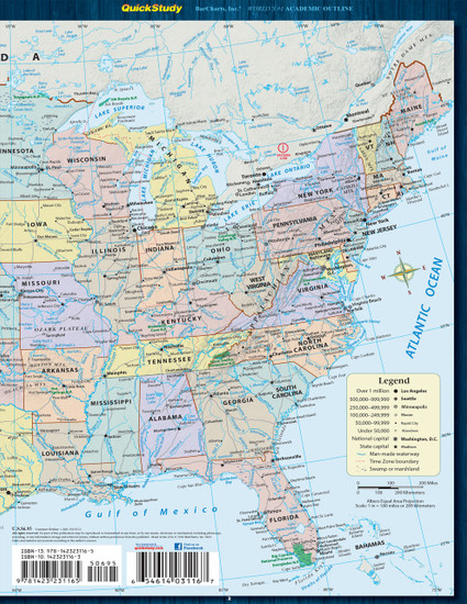 Quick Study QuickStudy U.S. Map: States & Cities Laminated Reference Guide BarCharts Publishing Education Outline Back Image