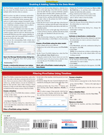 Quick Study QuickStudy MS Excel 2016: Pivot Tables Laminated Reference Guide BarCharts Publishing Business Software Reference Back Image