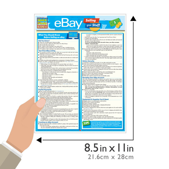Quick Study QuickStudy eBay Business: Selling Your Stuff Laminated Reference Guide BarCharts Publishing eCommerce Outline Guide Size