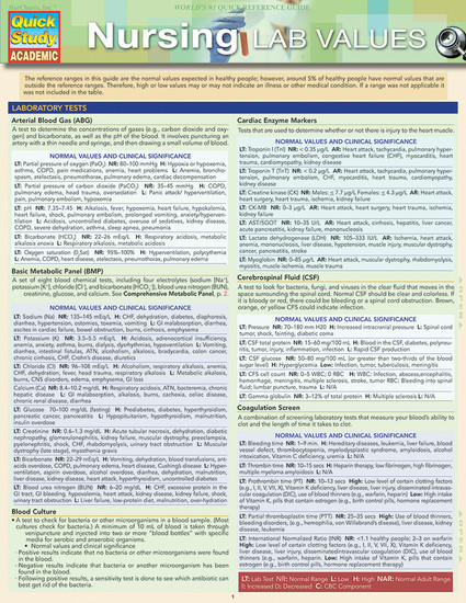 Quick Study QuickStudy Nursing: Lab Values Laminated Study Guide BarCharts Publishing Medical Academic Reference Cover Image