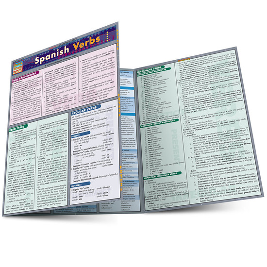 Quick Study QuickStudy Spanish Verbs Laminated Study Guide BarCharts Publishing Spanish Verbs Guide Main Image