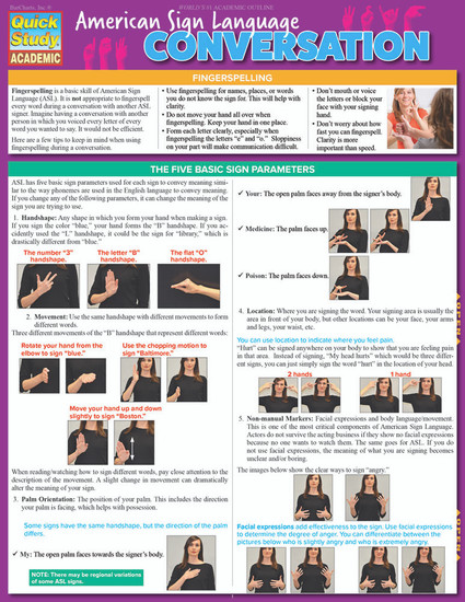 Quick Study QuickStudy American Sign Language Conversation Laminated Study Guide BarCharts Publishing Cover Image