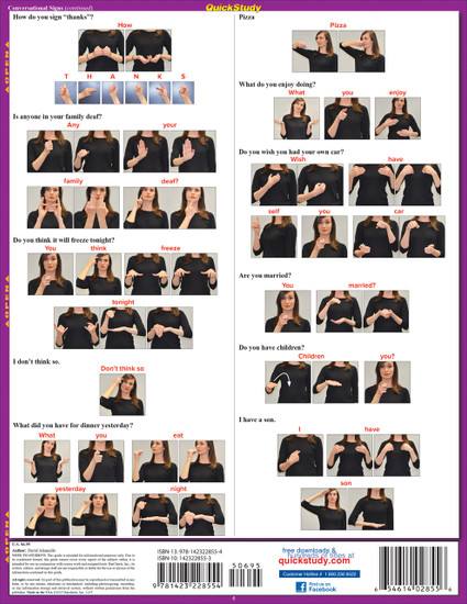Quick Study QuickStudy American Sign Language Conversation Laminated Study Guide BarCharts Publishing Back Image