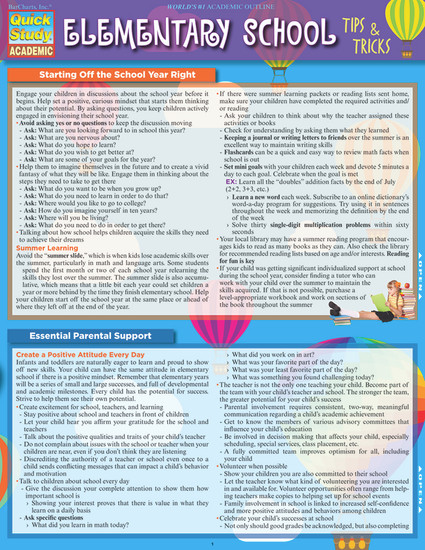 QuickStudy | Elementary School: Tips & Tricks Laminated Study Guide