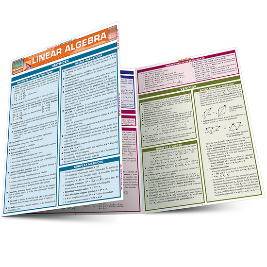 Quick Study QuickStudy Linear Algebra Laminated Study Guide BarCharts Publishing Mathematics Guide Main Image