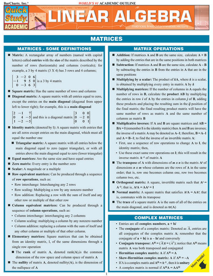 QuickStudy | Linear Algebra Laminated Study Guide