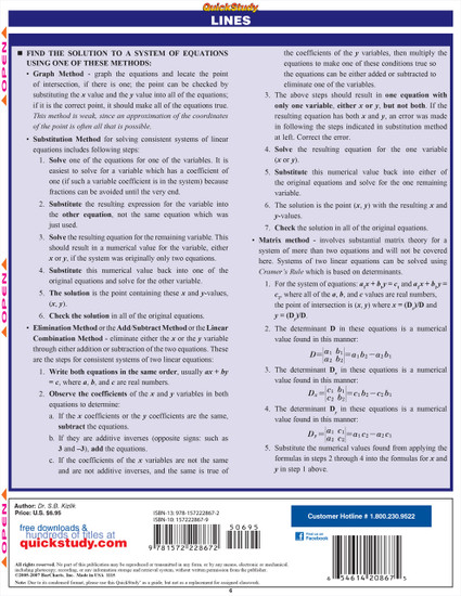 Quick Study QuickStudy Linear Algebra Laminated Study Guide BarCharts Publishing Mathematics Guide Back Image