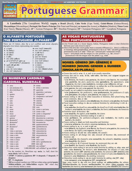 Quick Study QuickStudy Portuguese Grammar Laminated Study Guide BarCharts Publishing Language Guide Cover Image