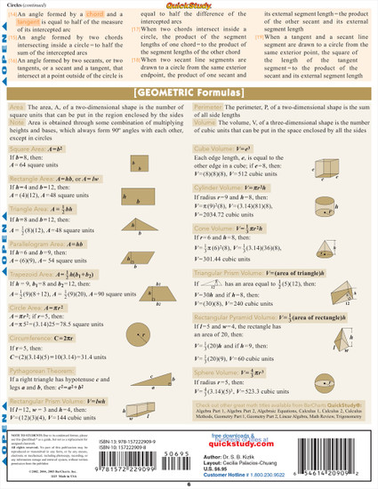 QuickStudy   Geometric Formulas Laminated Study Guide