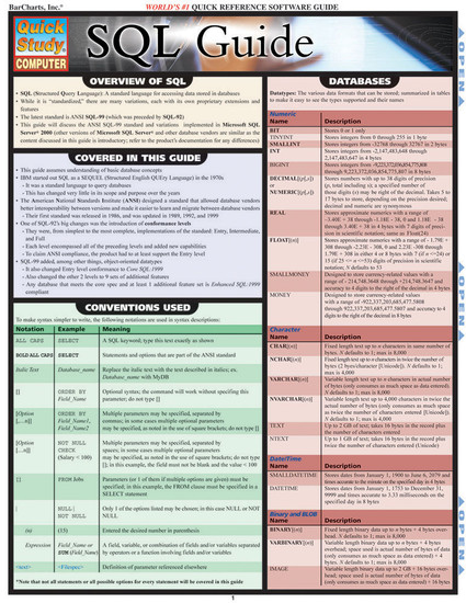 QuickStudy | SQL Guide Laminated Reference Guide