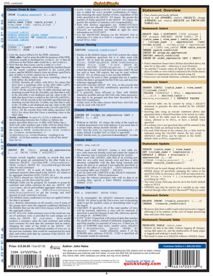 Quick Study QuickStudy SQL Guide Laminated Reference Guide BarCharts Publishing Computer Database Outline Back Image