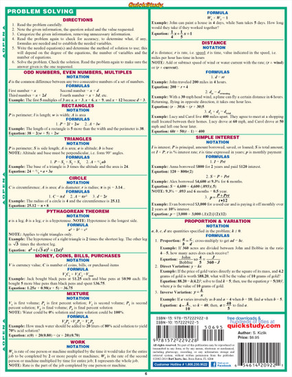 Quick Study QuickStudy Algebraic Part 2 Laminated Study Guide BarCharts Publishing Algebra Pt2 Guide Back Page Image