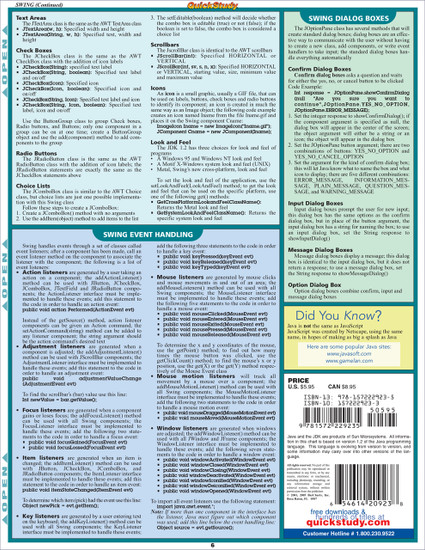 Quick Study QuickStudy Java 2 Laminated Reference Guide BarCharts Publishing Computer Programming Language Reference Back Image