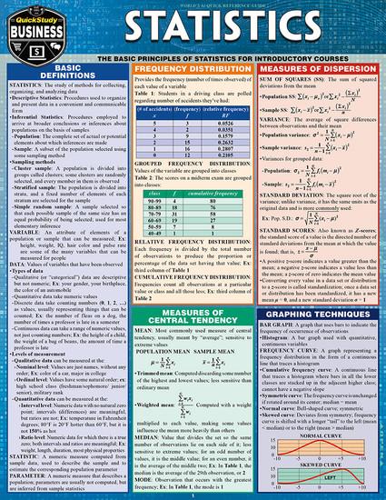 QuickStudy | Statistics Laminated Study Guide
