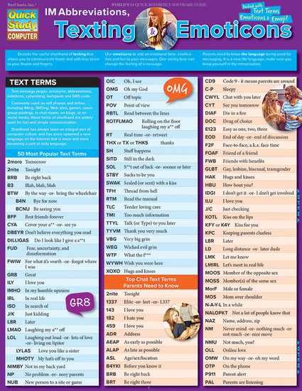 QuickStudy | IM Abbreviations, Texting & Emoticons Laminated Reference Guide