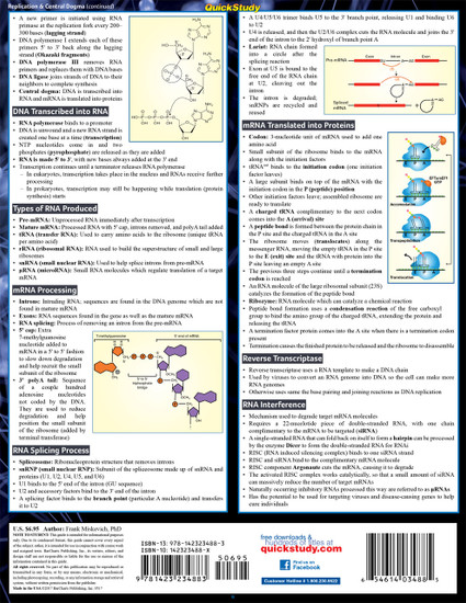 Quick Study QuickStudy Biochemistry 2 Laminated Study Guide BarCharts Publishing Life Science Reference Back Image