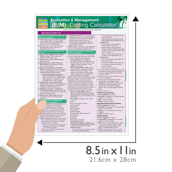 Quick Study QuickStudy Evaluation & Management (E/M) Coding Calculator Laminated Reference Guide BarCharts Publishing Medical Career Reference Guide Size