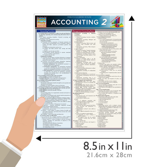 Quick Study QuickStudy Accounting 2 Laminated Study Guide BarCharts Publishing Business Reference Guide Size