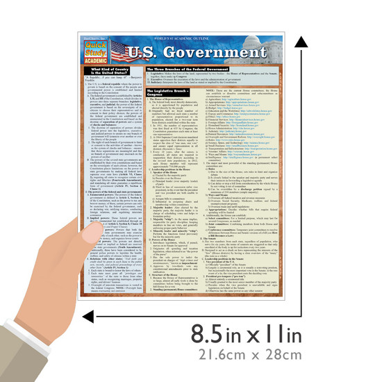 QuickStudy Quick Study U.S. Government Laminated Study Guide BarCharts Publishing Political Science Guide Size